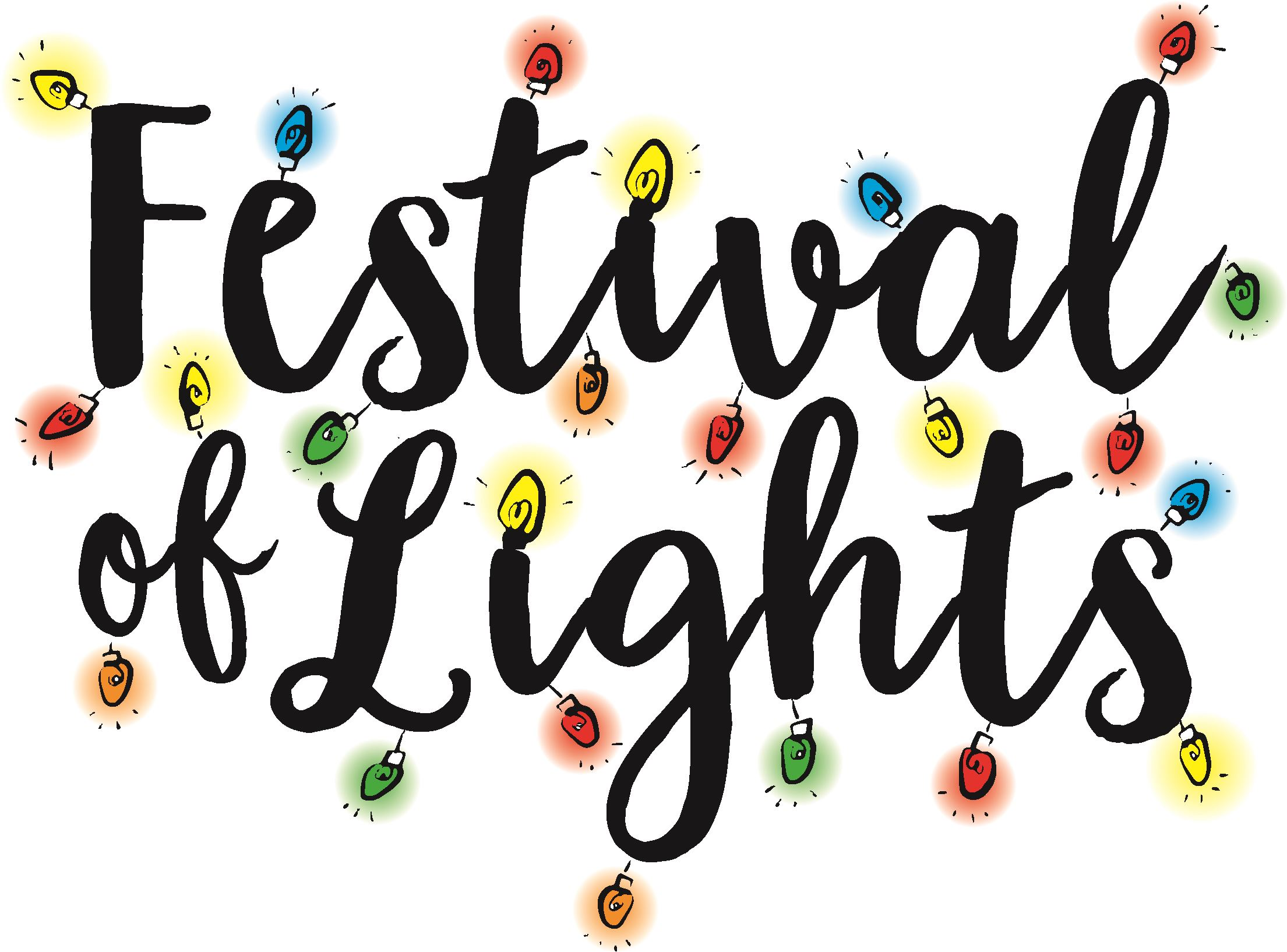 logo for the Festival of Lights written in cursive with drawn colorful lights decorating the words.