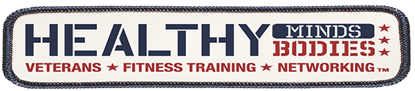 A logo reading Healthy Minds and Bodies - Veterans, Fitness Training, Networking in red and blue